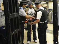 A man being searched