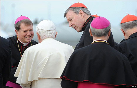 Pope Benedict XVI is greeted by World Youth Day co-ordinator Bishop Anthony Fisher (left)
