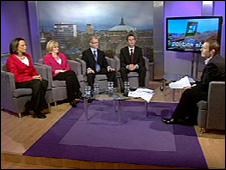 Four election candidates take part in a televised debate