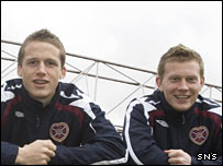 Christophe Berra and Andrew Driver of Hearts