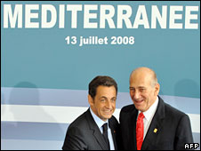 France's President Nicolas Sarkozy (L) and Israel's Prime Minister Ehud Olmert at the Grand Palais in Paris, 13 July 2008