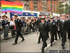 Military march at Gay Pride in London