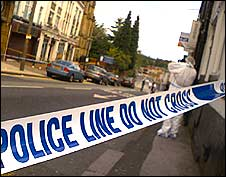 Police tape at scene of stabbing in Bolton