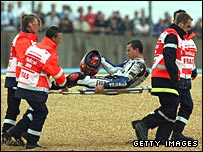 Jorge Lorenzo after his crash in France