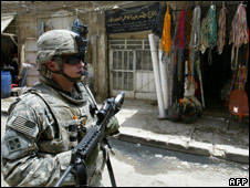 A US soldier on patrol in Baghdad's Haifa neighbourhood