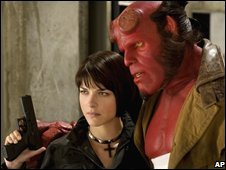 Selma Blair and Ron Perlman in Hellboy II