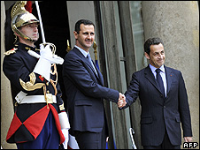 Syria's Assad is welcomed in Paris by French President Sarkozy