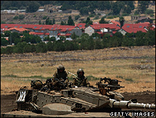 Israeli troops on exercises in the Golan Heights