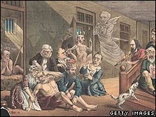 19th Century cartoon of Gladstone in an asylum