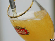 A glass of Stella Artois being poured