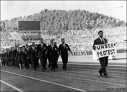 Republic of China athletes protest at being force to compete under the name Taiwan in Rome in 1960