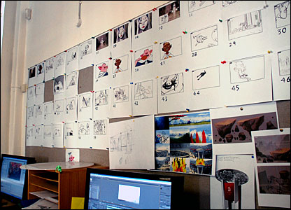 Storyboard on wall