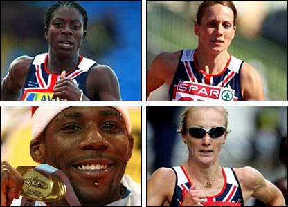(Clockwise from top left - Ohuruogu, Sotherton, Radcliffe and Idowu)