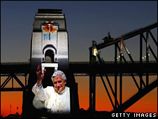 An image of the Pope is projected on to Sydney harbour bridge on 14 July 2008