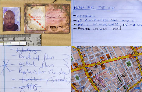 "Germaine Lindsay's fake travelcard, recovered from the scene, plus ""to-do"" lists and a map found in Leeds"
