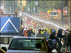 Italian police and protesters during G8 in Genoa, July 2001