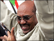 Omar al-Bashir at a rally in Khartoum, 13 July