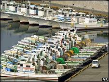 Fishing boats moored in Omaezaki, Japan, on 15 July 2008