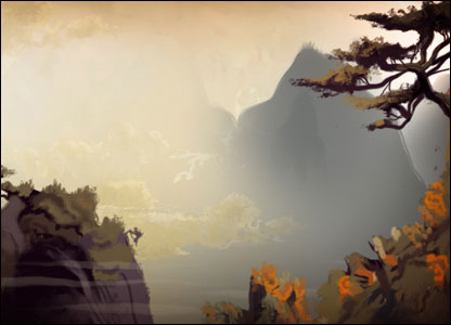 Backdrop from BBC Sport's Monkey animation