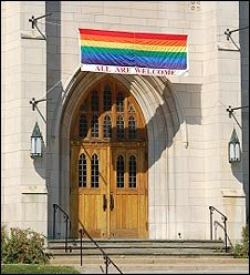 Church with rainbow banner