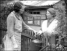 Neighbours having a discussion in 1951