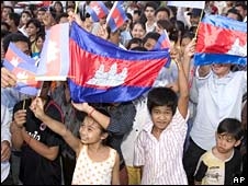 Cambodians celebrate the listing at a rally in Phnom Penh on 14 July 2008