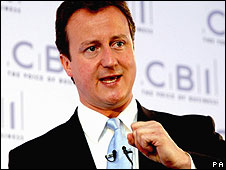 David Cameron speaking to the CBI