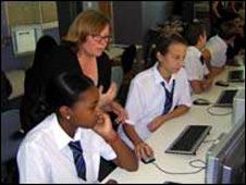 BBC journalist Lynne Jones gives editorial guidance to Katrina and Iris, both 12