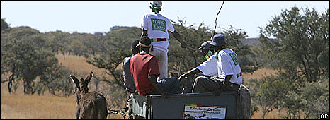 ZANU-PF youth militia move from one household to another using a cart, while campaigning for President Robert Mugabe near Bulawayo, Saturday, June 21, 2008.