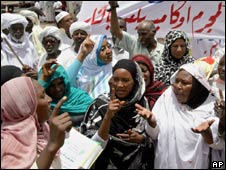 Women protest in support of Sudan's president