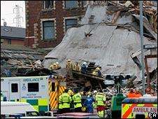 Factory blast site