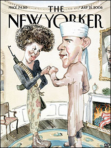 Cartoon on the front cover of the New Yorker depicting Barack Obama in Muslim garb, and Michelle Obama as a terrorist