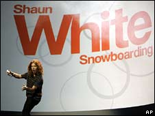 Snowboarder Shaun White demonstrates Wii game