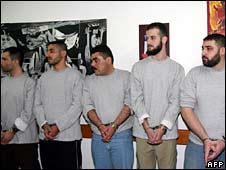 Hezbollah prisoners, with Samir Qantar third left, Hadarim prison, 16 July 2008