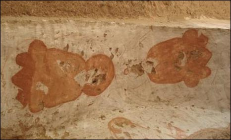 Only a few fragments of the ancient paintings remain