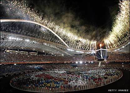 The opening ceremony fireworks at the 2004 Athens Olympics