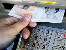 Person using cash machine