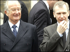 Belgium's King Albert II (left) and Prime Minister Yves Leterme (file image)