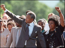 Mandela upon release