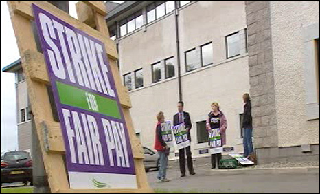A picket line on Wednesday
