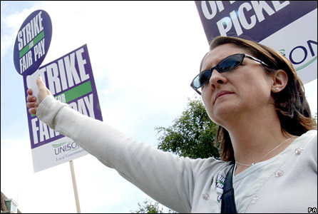 Council worker on picket in Cambridge