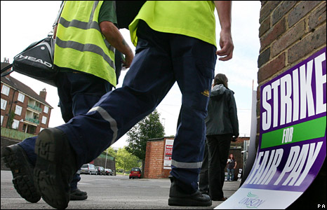 Workers cross the picket line in Brighton