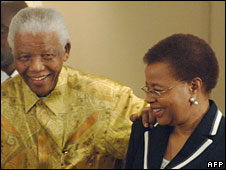 Nelson Mandela with his wife Graca Machel