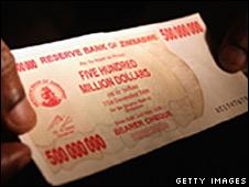 500m Zimbabwe dollar banknotes