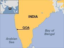 Map of India, showing Goa