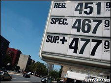 Board showing gasoline prices in New York