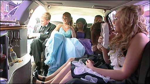 Teenagers in a limousine before their prom