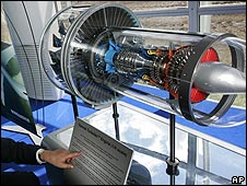 Model of Pratt & Whitney geared turbofan engine