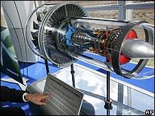 Model of Pratt & Whitney geared turbofan engine