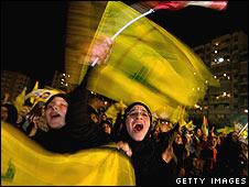 Lebanese women celebrate the release of prisoners
